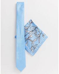 River Island – Krawattenset mit Blumenmuster - Blau