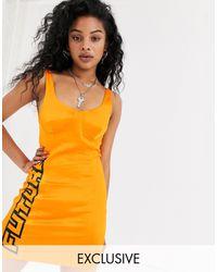 Collusion Satin Bodycon Dress - Orange