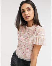 Needle & Thread Embroidered Crop Top - Pink