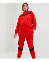 ASOS Asos Design Curve Tricot Tracksuit With Panelled Sweat / Skinny jogger - Red