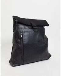 Urbancode Кожаный Рюкзак-тоут С Подворачиваемым Верхом -черный Цвет