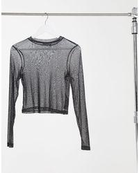 ASOS Glitter Mesh Long Sleeve T-shirt - Black