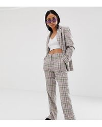 Collusion Check Trouser With Side Tape - Gray