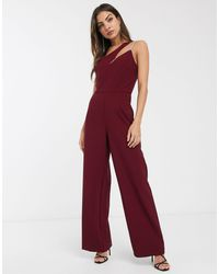 River Island Asymmetric Jumpsuit - Red