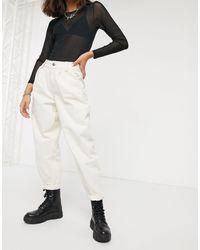 Bershka Pantalon ample avec partie supérieure plissée - Écru - Blanc