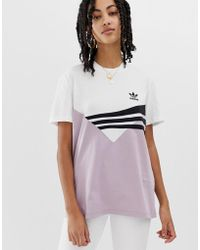 adidas Originals Linear T-shirt In Lilac And Black - Purple