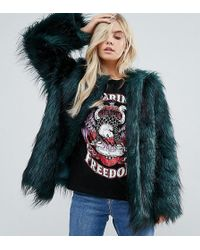 Noisy May Petite - Faux Fur Coat - Lyst