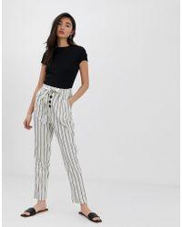 Stradivarius Button Front Linen Pants In Stripe - White