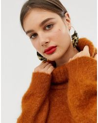 ASOS - Pull Through Statement Earrings With Tortoiseshell Shape In Gold - Lyst