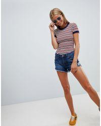 New Look - Raw Hem Longerline Denim Shorts - Lyst
