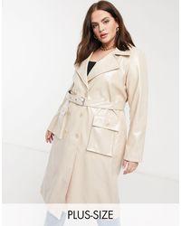 Urbancode Curve Trench-coat en PU ultra-brillant - Beige - Noir
