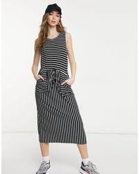 Warehouse Stripe Utility Midi Dress - Blue