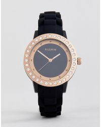 Pilgrim - 701714111 Rose Gold Plated Watch With Black Silicone Strap - Lyst