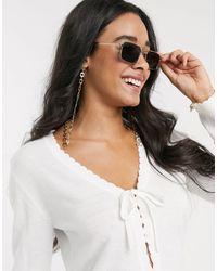 Glamorous Chunky Abstract Metal Sunglasses Chain - Metallic