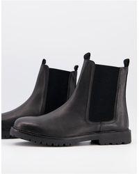H by Hudson Черные Кожаные Ботинки Челси -черный