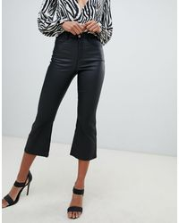 Missguided High Rise Kick Flare Coated Jeans - Black