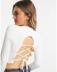 Bershka Long Sleeve Crop Top With Lace Up Back - White