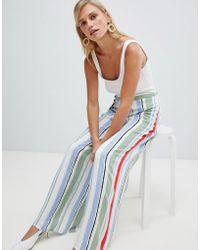 Vila - Stripe Wide Leg Trousers - Lyst