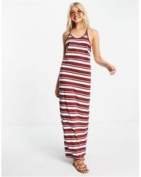 Superdry Summer - Vestito lungo rosso a righe