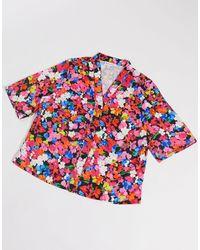 Warehouse Top del pigiama corto a fiori - Rosa