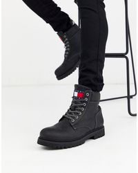 Tommy Hilfiger Lace Up Boots In Black