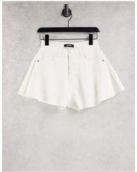 Missguided Denim Mom Shorts With Raw Hem - White