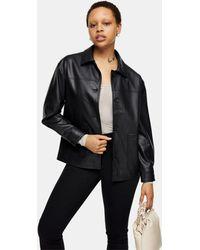 TOPSHOP Черная Куртка-рубашка Свободного Кроя Из Искусственной Кожи -черный Цвет