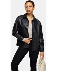 TOPSHOP Faux Leather Boxy Shacket - Black
