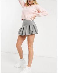 Bershka Half Pleat Tennis Skirt - Grey
