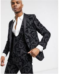 Twisted Tailor Suit Jacket With Flocking - Multicolour