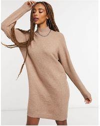 ONLY – Hochgeschlossenes Pulloverkleid - Braun