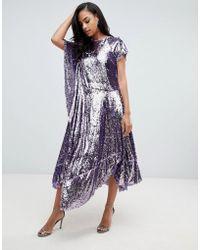ASOS Drape Sequin Dress With Asymmetric Hem - Purple