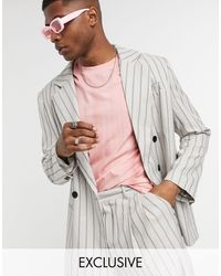 Collusion Oversized Double Breasted Blazer - Natural