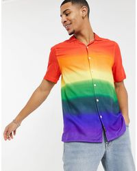 Hollister Pride Ombre Rayon Short-sleeved Shirt - Red