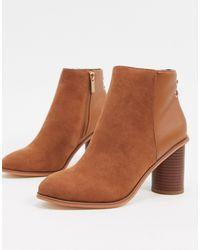 Oasis Mid Heel Ankle Boot - Brown