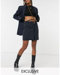 Collusion Pinstripe Skirt With Waist Detail-navy - Blue