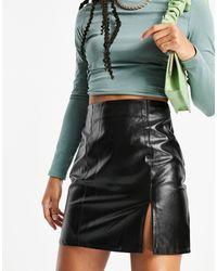 Naanaa Side Split Faux Leather Mini Skirt - Black