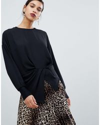 Y.A.S Asymmetric Hem Top With Waist Detail - Black
