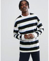 ASOS DESIGN - Asos Oversized Stripe Long Sleeve T-shirt With Block Stripe - Lyst