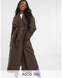 ASOS Asos Design Tall Hero Robe Belted Coat - Brown