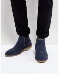 Dune - Chelsea Boots In Navy Suede - Lyst