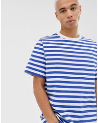 Weekday Stripe T-shirt In White/blue