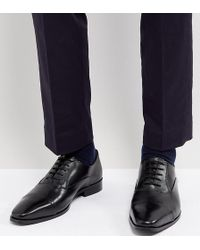 Dune - Wide Fit Toe Cap Derby Shoes In Black Leather - Lyst