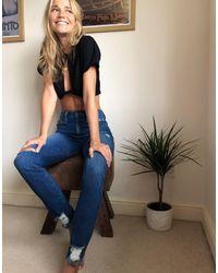 Alice + Olivia Jeans - Jeans skinny a vita alta blu consumato