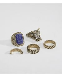 ASOS - Oversized Ring Pack In Burnished Gold With Wolf Design And Stone - Lyst