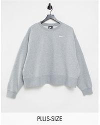 Nike Серый Свитшот В Стиле Oversized С Маленьким Логотипом Plus