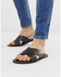 KG by Kurt Geiger - Kg By Kurt Geiger Cross Strap Sandal In Tan Leather - Lyst