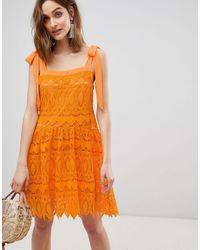 Vero Moda All Over Lace Cami Mini Dress With Tie Straps - Orange