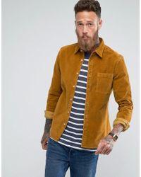ASOS - Slim Fit Cord Shirt In Mustard - Lyst