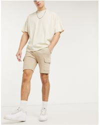 ASOS Jersey Skinny Shorts With Cargo Pockets - Natural